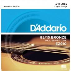 D'Addario 85/15 Bronze Acoustic String EZ910 Gauge(11-52)