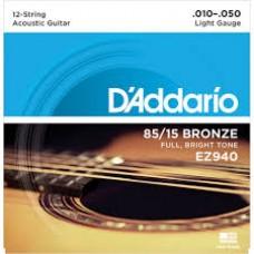 D'Addario 85/15 Bronze Acoustic 12 String EZ940 Gauge(10-50)